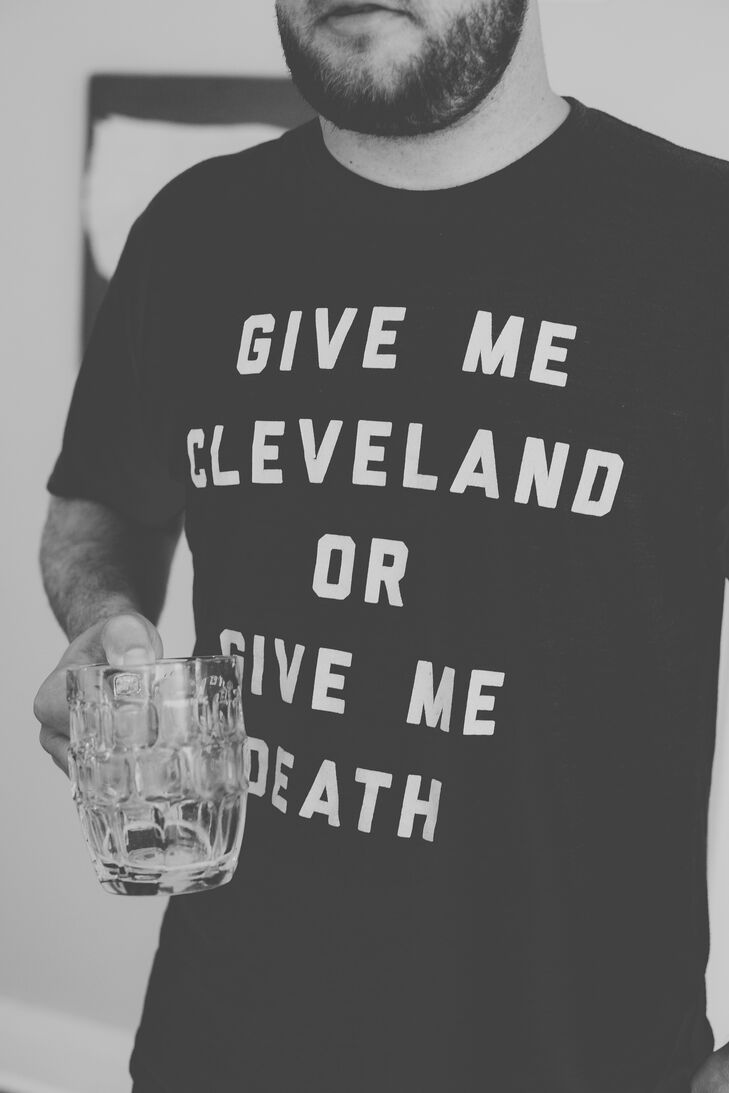 """The couple's motto of the day was """"All in,""""  showing their love for the Cleveland Cavaliers basketball team and their commitment to each other."""