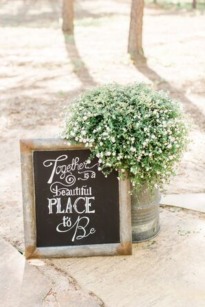 Black-and-White Chalkboard Sign and Baby's Breath