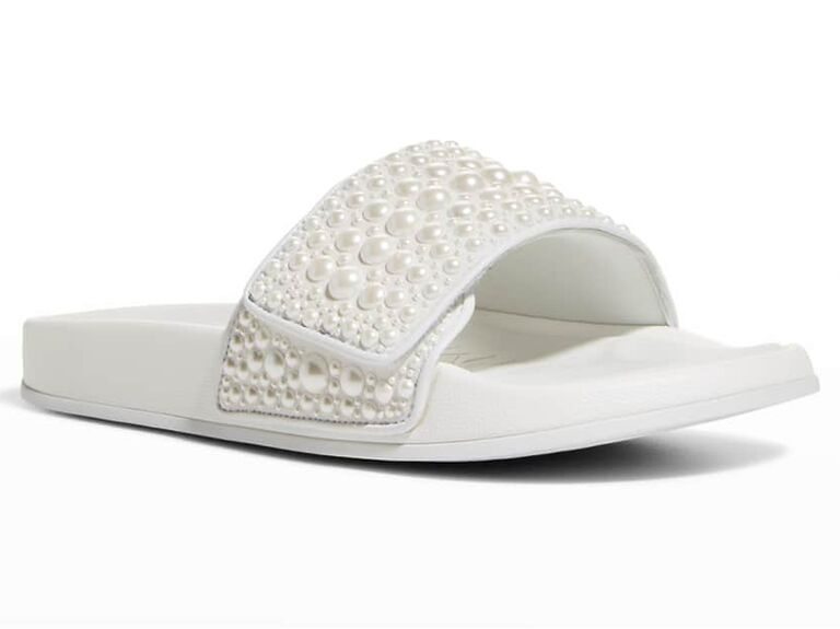neiman marcus jimmy choo white bride slippers with pearls