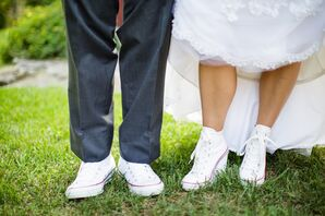 White and Red Sneaker Wedding Shoes