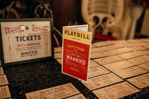 Theater-Themed Paper Goods With Playbill and Ticket Escort Cards