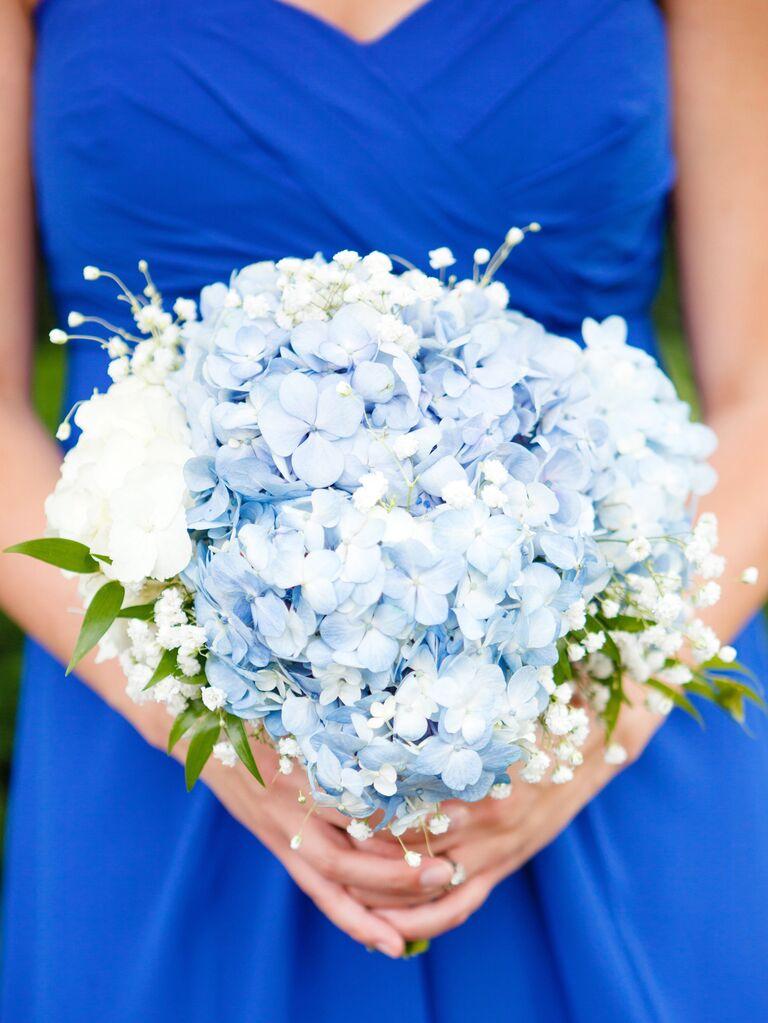 blue hydrangea bridesmaid bouquet