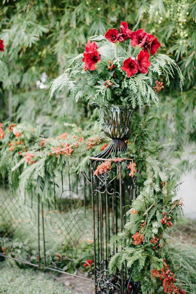 Amaryllis arrangement on pedestal