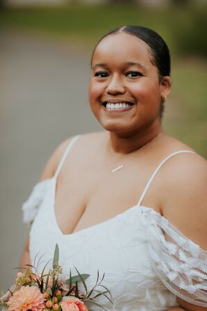 Bride With Off-the-Shoulder Wedding Dress and Updo