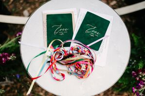 Emerald Green Vow Books for Miami Wedding