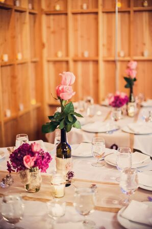 Wine Bottle, Pink Rose and Hydrangea Centerpieces