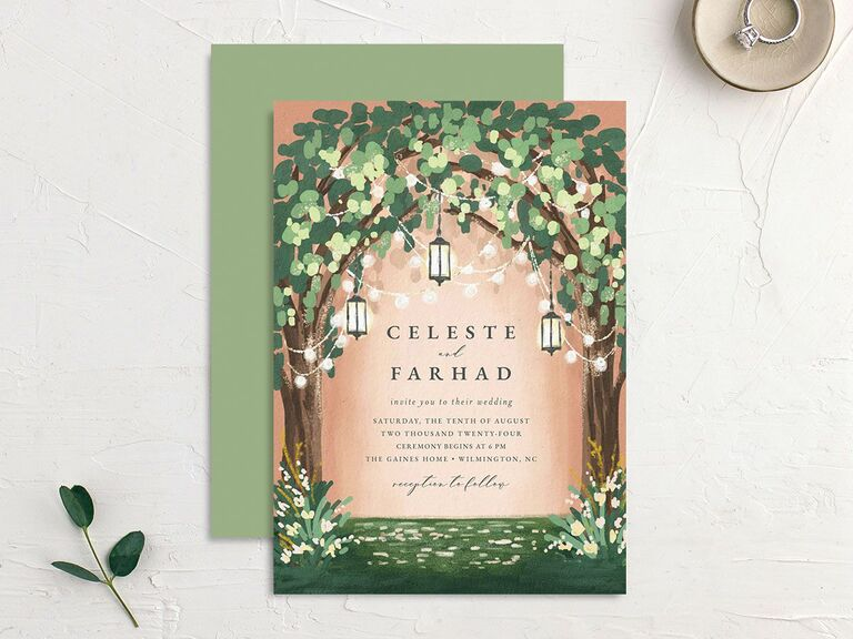 Enchanted forest wedding invitation with string lighting