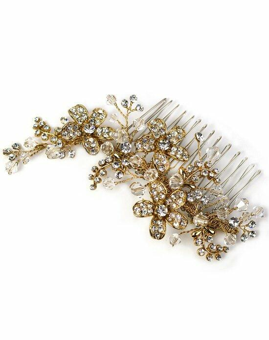USABride Gold Floral Rhinestone Comb TC-2239-G Wedding Pins, Combs + Clips photo