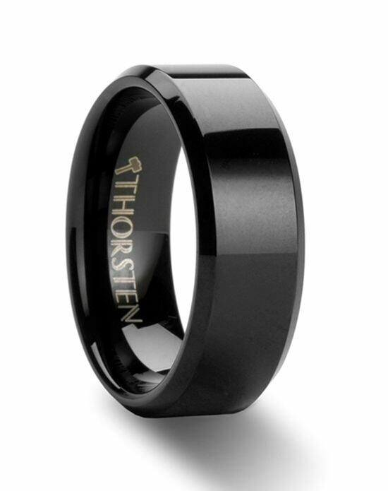 Larson Jewelers INFINITY Black Tungsten Wedding Ring with Beveled Edges - 4mm - 12mm Wedding Ring photo