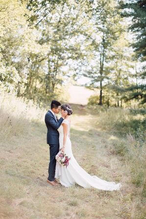 Bride and Groom in Rolling Hills of the Fruitland Museum Property