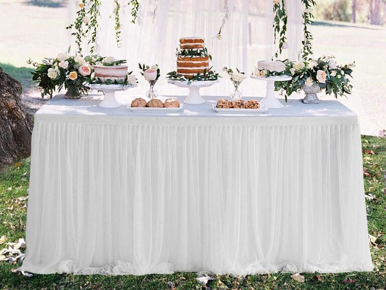 Suppromo 9-foot white tulle table skirt