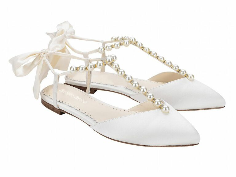 white flats with pearls
