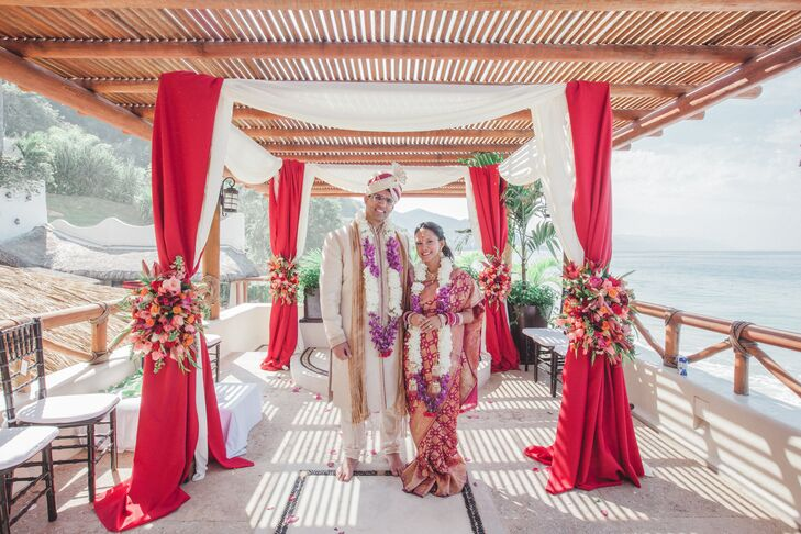 """Mariecar Frias and Jason Sharma's winter wedding in Puerto Vallarta, Mexico was a celebration of color and their Filipino and Indian heritage. """"We cho"""