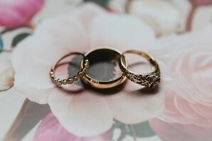 Vintage-Inspired Gold Engagement Ring and Wedding Bands