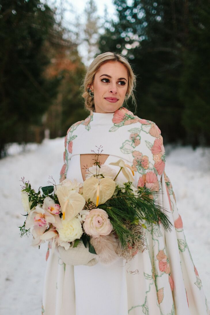 Bride at Whimsical Winter Wedding in the Snow in Michigan