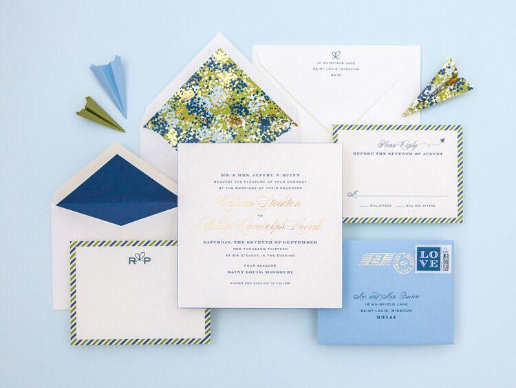 Cheree Berry Paper airmail wedding invitation design