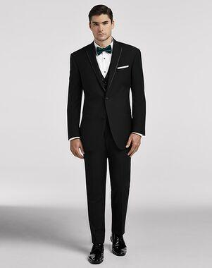Men's Wearhouse Calvin Klein® Black Satin Edged Notch Lapel Black Tuxedo
