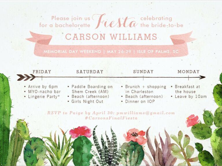 desert bachelorette party invite