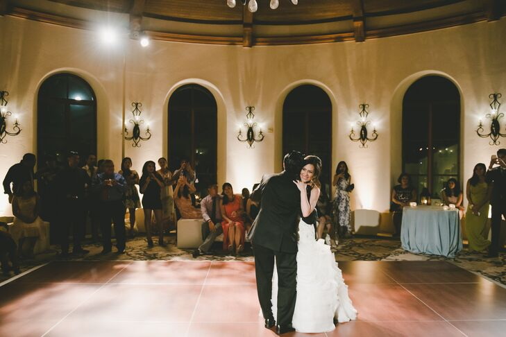 """""""We were drawn to Bacara Resort for its rich Spanish and coastal history and sense of serene elegance,"""" Ivette says. The site's aesthetic served as a subtle celebration of their roots, as did their first-dance song. """"Our first dance was to 'Stand By Me' by Prince Royce, which is a bilingual version of the original,"""" Ivette says. """"The song was representative of our bicultural backgrounds."""""""