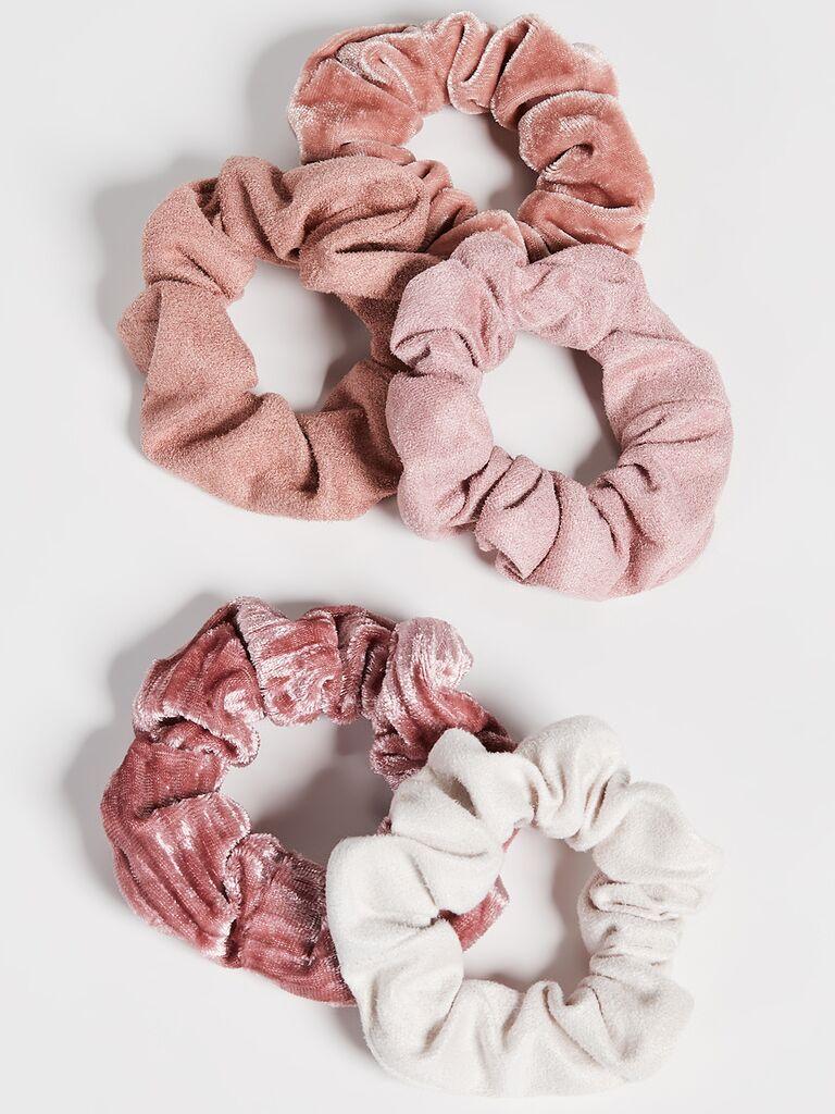 Velvet scrunchies set affordable bridesmaid gifts
