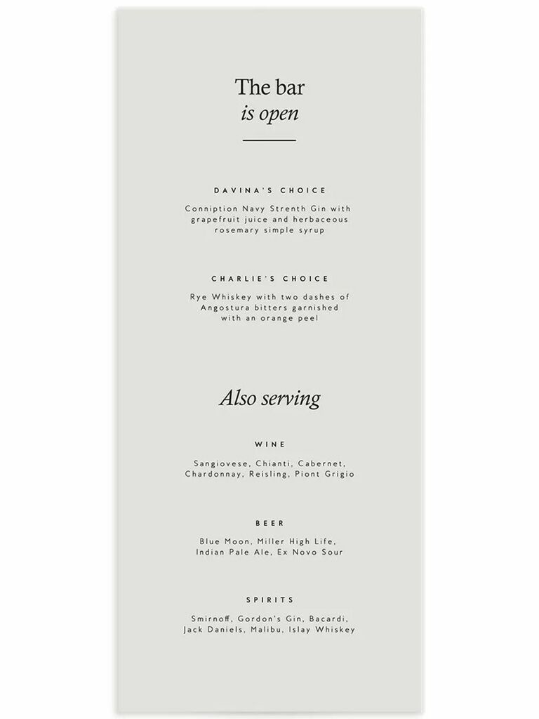'The bar is open' above menu items in simple black type on light gray background