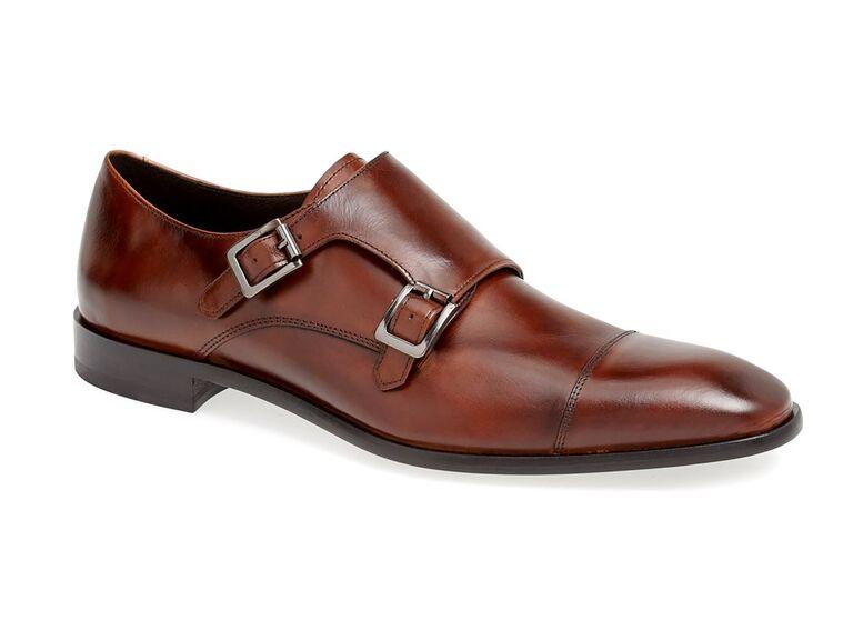 Calibrate 'Cusano' Double Monk Shoe grey suit brown shoes