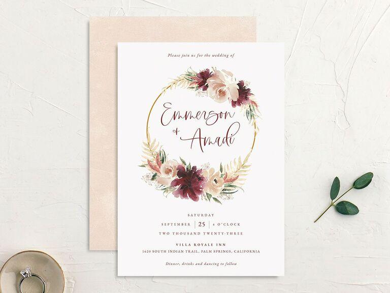 Fall floral wreath invitation