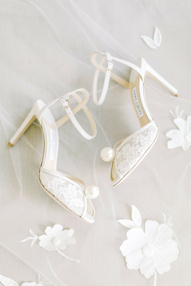 White Wedding Shoes With Pearl Detail