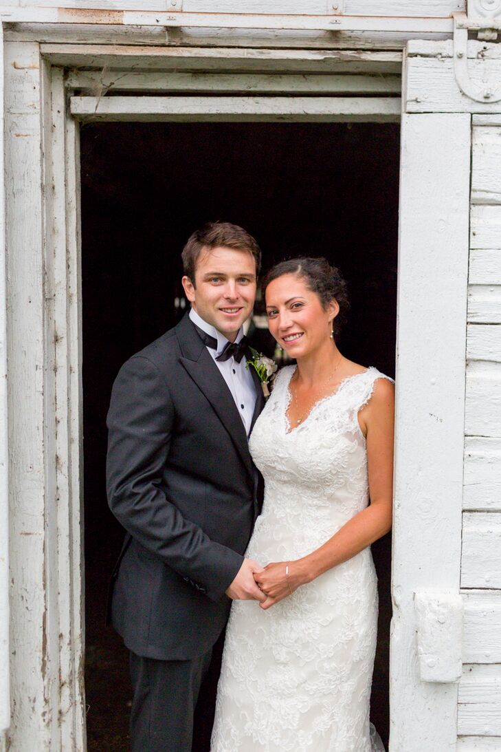 """Molly Tullar (27 and a golf professional) always knew she wanted to say her """"I do's"""" at her family's dairy farm in Orford, NH, so when Alex Braid (28"""