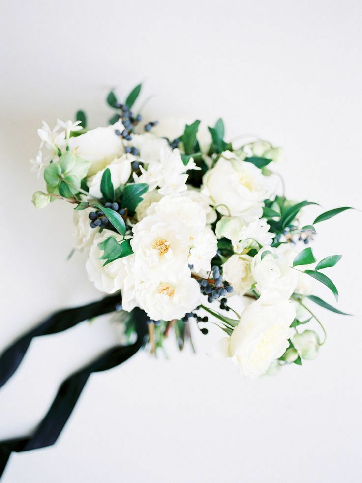 Bouquet with white garden roses