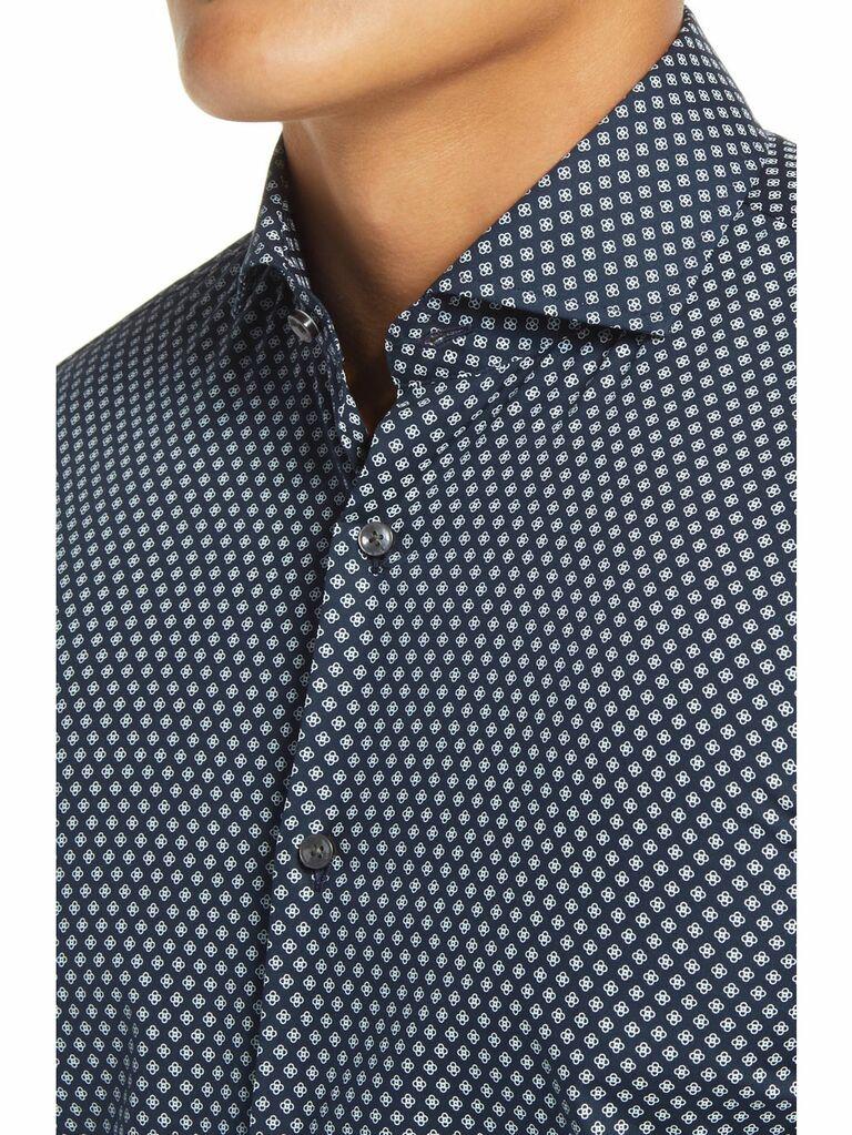 Navy medallion print dress shirt