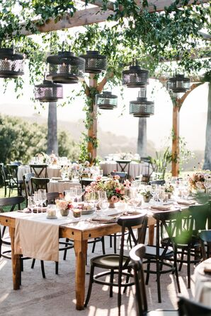 Farm Table with Suspended Lantern Installation