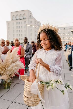 Flower Girl with Woven Basket, Crown and White Bohemian Dress