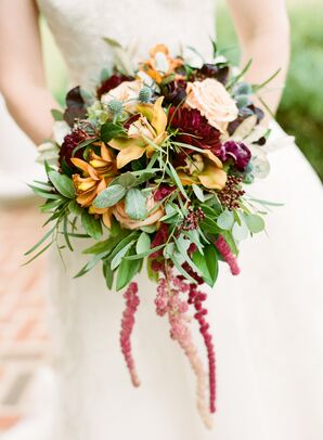 Whimsical Fall Bouquet with Orchids, Dahlias, Roses and Thistles