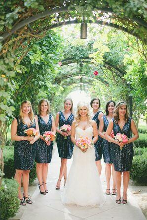 Shimmery Navy Bridesmaid Dresses