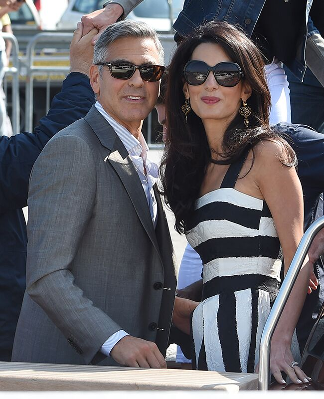 Amal Alamuddin and George Clooney arrive in Venice