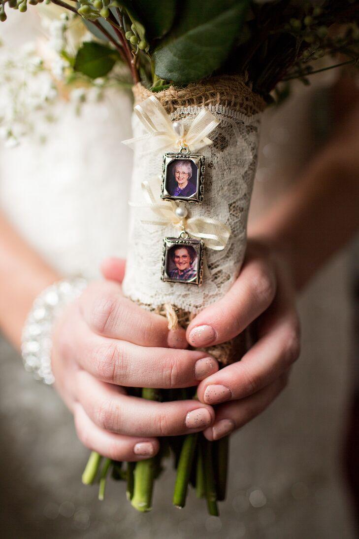 Family Photograph Bridal Bouquet Detail