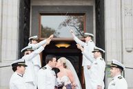 Hilary and Christopher (Chris) had a traditional wedding at the 100-year-old chapel at the US Naval Academy, the groom's alma mater. Chris's classmate