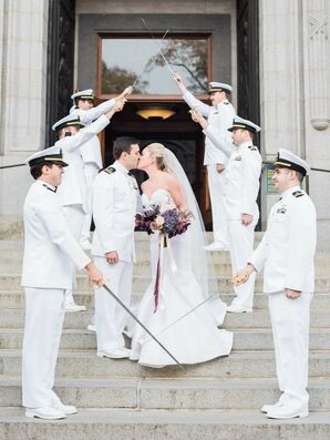 Bride and Groom at U.S. Naval Academy Under Traditional Sword Arch