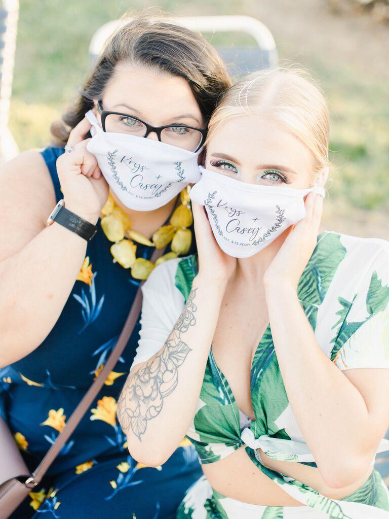 Guests wearing custom wedding masks