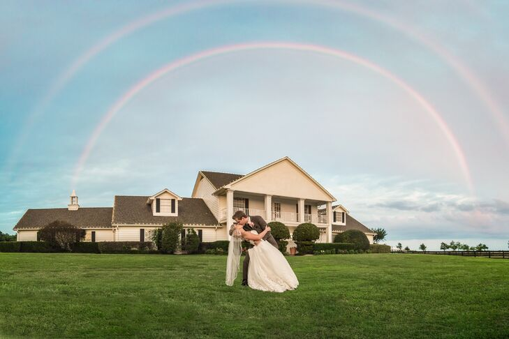 Though the wedding day was full of memories,  this exceptional moment right outside the reception stood out. Clint Brewer | PHOTO captured Blair and Alex posing for a double rainbow right outside their reception!
