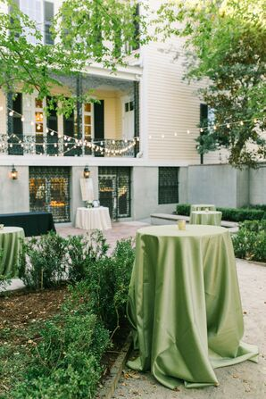 Green Linens on Cocktail Tables for Wedding at The Lace House in Columbia, South Carolina