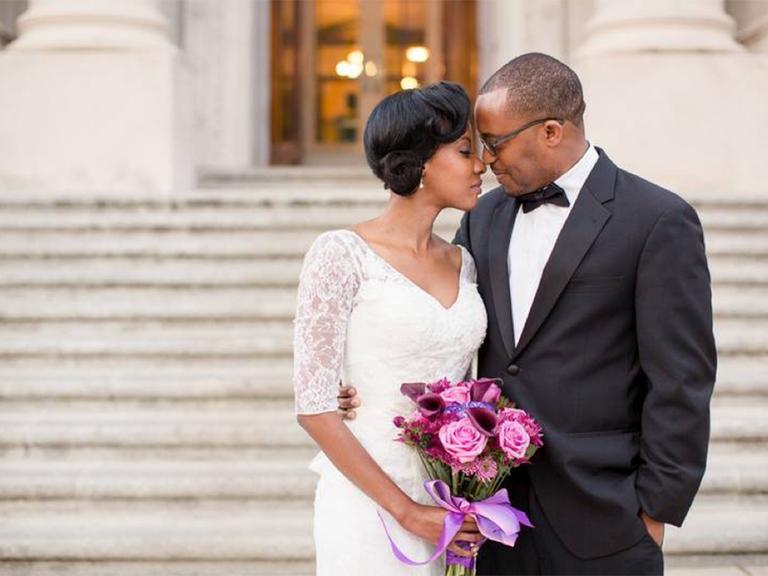 intimate courthouse wedding photo