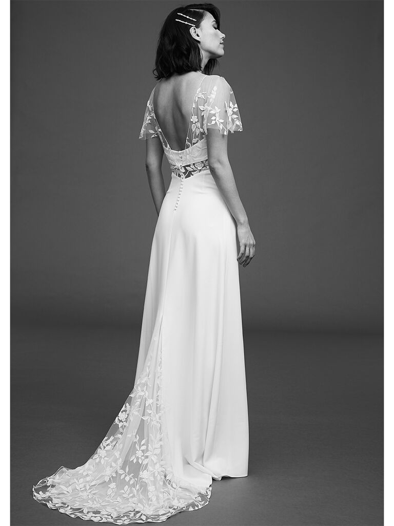 Rime Arodaky high waisted dress with open back and tulle butterfly sleeves