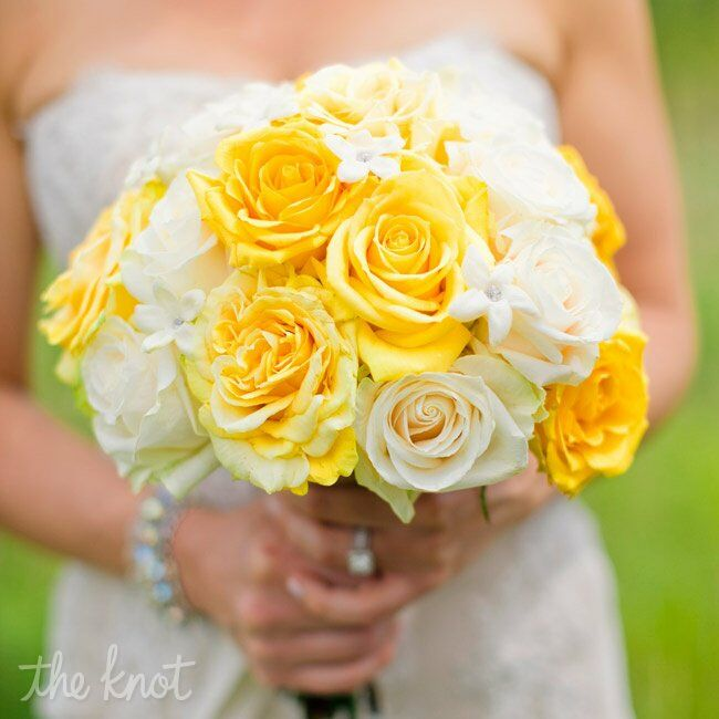 Yellow and ivory roses were the focal point of Jen's bouquet, while stephanotis blooms with rhinestones in the centers added sparkle.