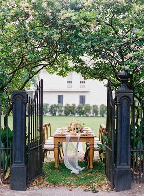 Elegant Outdoor Dining Table at The Elms Mansion in New Orleans