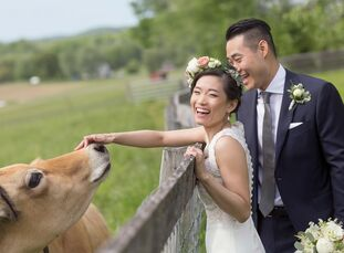"""Karen and Evan, """"knew we wanted to host a wedding that felt intimate and warm, and reflected our combined spirit. We've taken many day hikes in the Hu"""