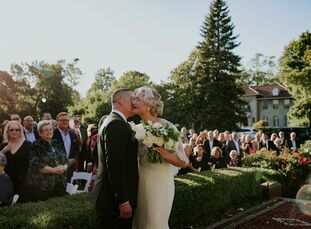 """Eva Blankinshipand Jon Randall hosted their wedding at a historical mansion in Detroit, Michigan. """"We love to host and entertain our own house partie"""