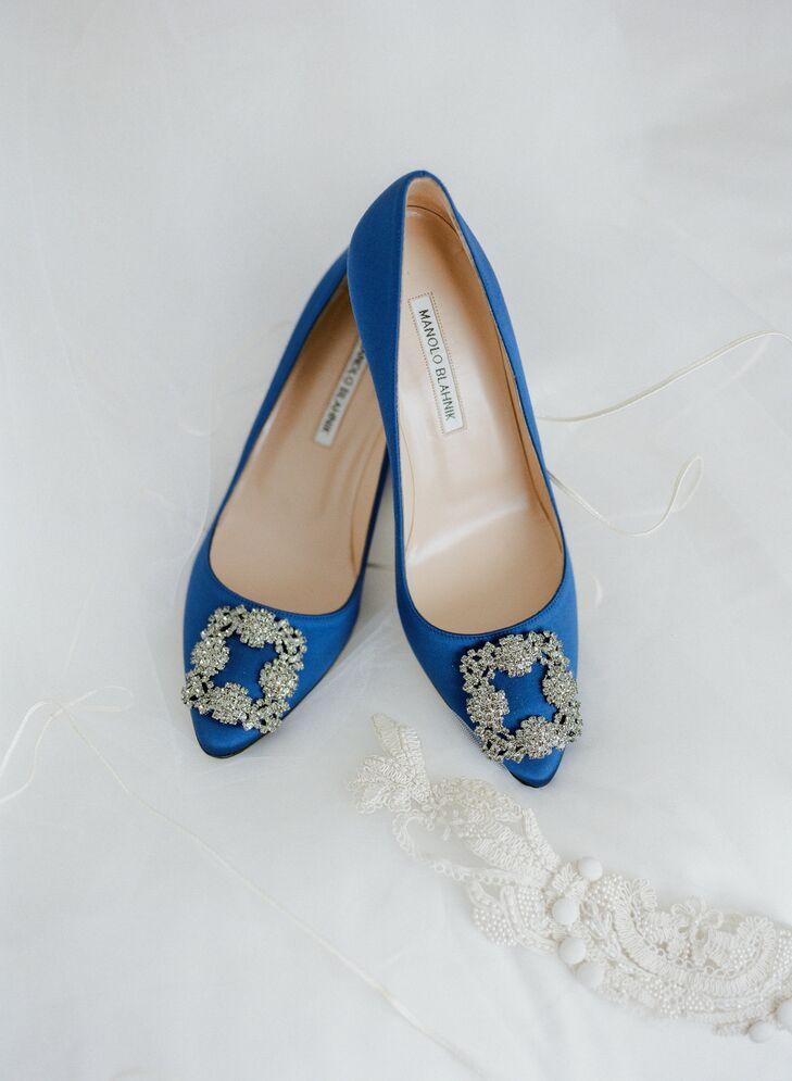 Blue Manolo Blahnik Wedding Heels