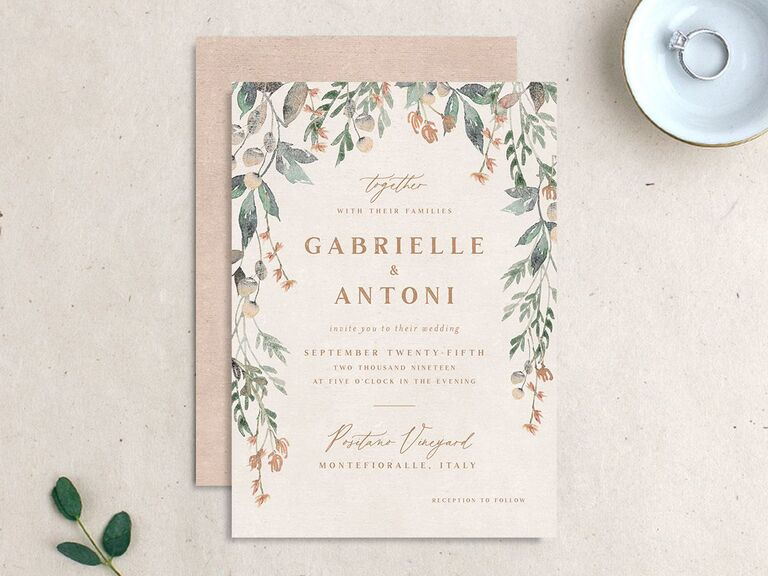 Autumn wedding invite with rustic vines